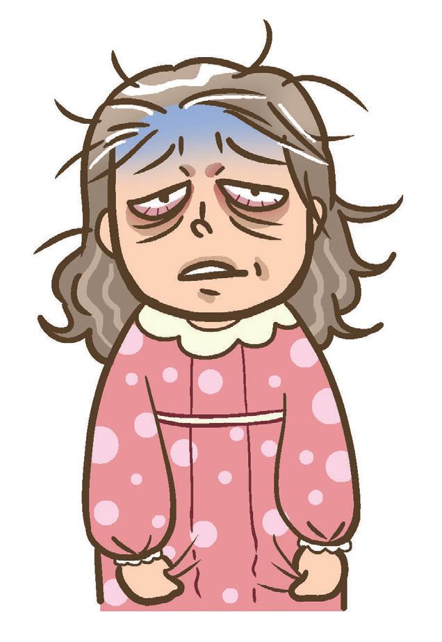睡眠不好時眼睛的黑眼圈很厚,看起來也蓬頭垢面,一副三天沒睡覺的喪屍模樣。